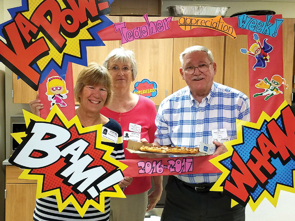 At Borman Elementary: Nancy Burn, Marnita Torres and John Cather