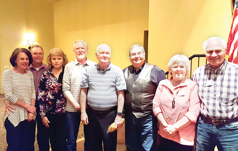Third place team, Tip of the Tongue: Ginny and Jim Mitchell, Vernell and Les Ross, Allen Goodrick, Stan Brein, Betty and Klaus Dannenberg