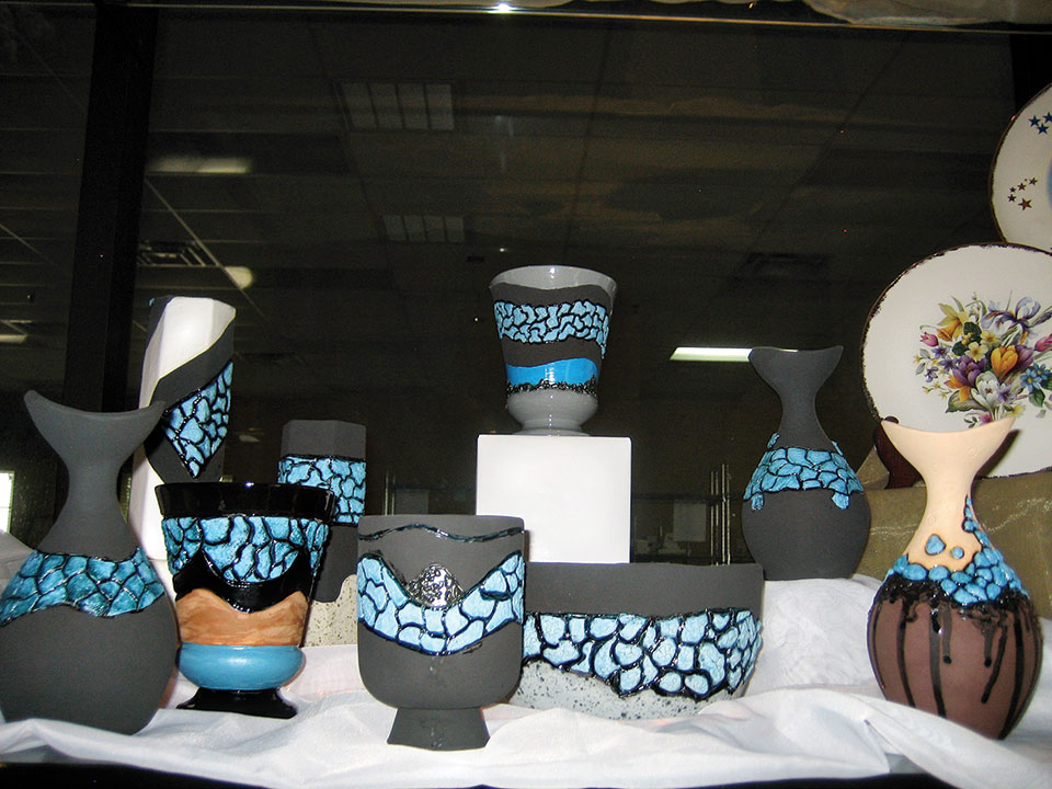 A display of the Kiln Krafters' ceramic pieces