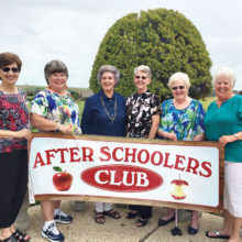 Helen Hayes and Judy Riffel, co-vice presidents; Darla Chupp and Gayle England, co-presidents; Grace Ann Gallagher, secretary; Marti Conley, treasurer