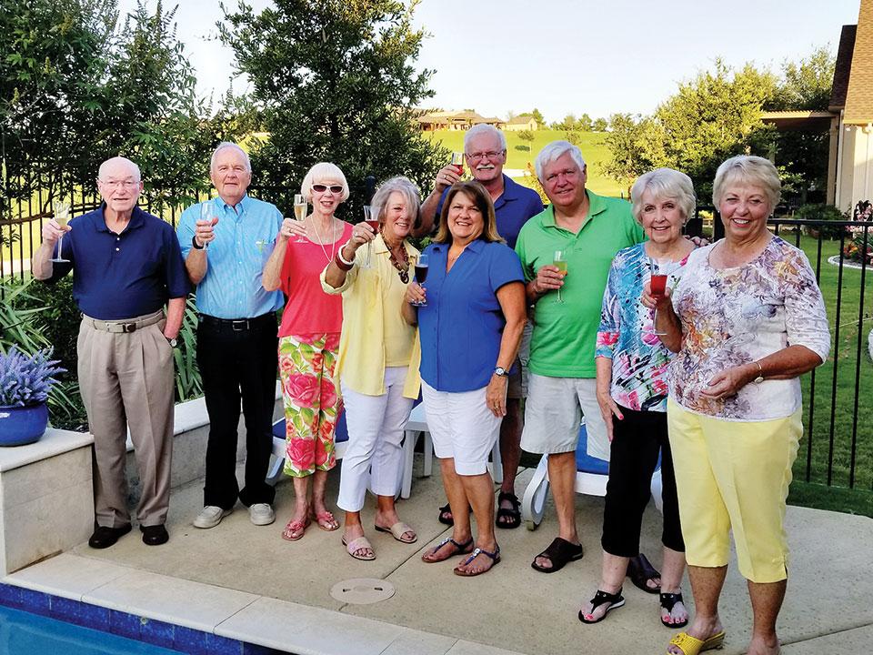 Left to right, front row: Ed Bone, Marv Daniel, Beverlee Deardorff, Paula Bone, Cindy Brekke, Dale Brekke, Bev Daniel, Pam Kanawyer; Wayne Lussier is in the back center; photo by Tom Kanawyer