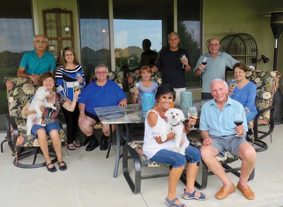 Front: Vickie and Jere Bone with Nizhoni; back: Nancy Toppan with Angel, Pete Toppan, Kathy and Ed Heberlein, Melodye and Bobby Rogers, Mike and Millie Aramanda