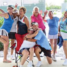 "Jerry Nissen with tennis ladies at Spring Fling: Jayne Gornik, Paula Hemingway, Barb Bent, Sandy Thompson, Patrice Forsyth, Lonnie Gisi and Catherine ""Cat"" Bass."