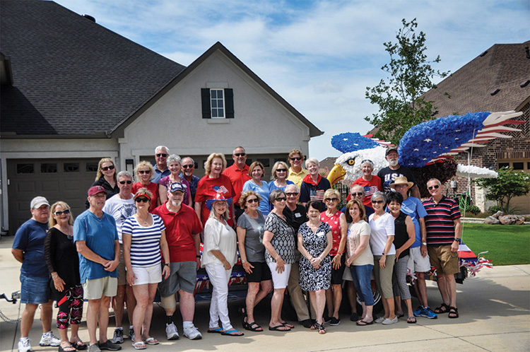 West Winger float volunteers. Front row (left to right): Dan & Sandy Owens, Jim Linden, Kim Stinson, Michael Hebert, Janet Slusher, Suellen Self, Jo Ann Evans, Jim and Sandy Olsson, Ann Rogers, Judi Fiegelman, Mike and Kathy Angellotti, Dicki Sizemore, CJ Halik and Darrell Supak. Back row: Lorie Shaddix, Grey Stinson, Liz Gardiner, Fred Self, Susan Supak, Spike Evans, Susan Posey, Jim Gardiner, Pat Linden, Janelle Lindley, Marty Shaddix, Donna Boudot, Mary Morse and Mike Slusher.