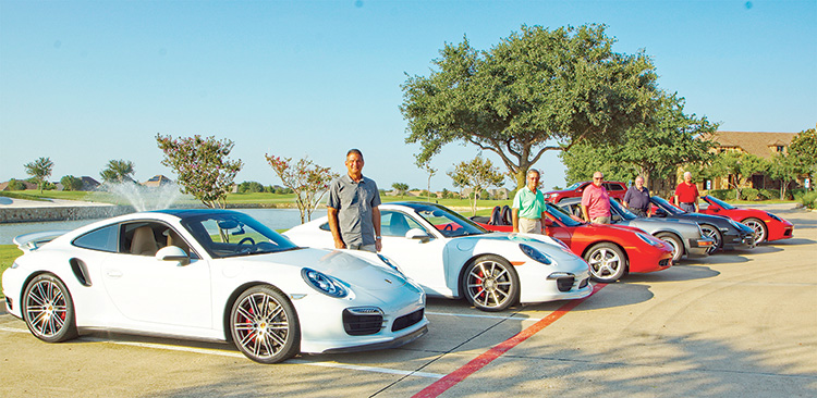Proud Porsche owners and car club members: Jeff Duncan, 2016 911 Carrera 4S, White over black, All Wheel Drive and 2001 Boxster Cabriolet, Orange, Auto Cross, Track Events; Rob Graeter, 2014 911 Turbo, White over Luxor Beige, Evolution Motors Tuned; William Dodge, 2019 Boxster, Guards Red, Model S; Larry Hampton, 2012 911 Turbo Cabriolet Black over Red, 500 hp, Top Speed 198, All Wheel Drive; Jim Reddick, 1989 Carrera Coupe, Original Paint, Upgrades. Photo by the RR Photography Club's Richard Renski and Richard Hatcher.