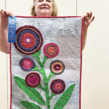 Lucy Rees, flower applique quilted wall hanging