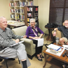 The book discussion panel did a superb job (left to right): Steve Williams, LaDonna Womochel, and Mike Hall.