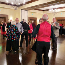 Dancers enjoying Valentine's dance