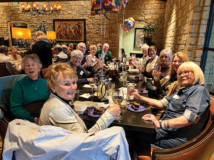 In attendance were (left to right) Carole Johnston, Dorothy Hogan, Jean Dubiel, Jim Zimmerman (guest), Lynn Pierce (guest), J. Gallacher, Robin Williams, Rebecca Elsen, Sylvia Mawhee, Tracy Grunig, and Gayle Brothers.