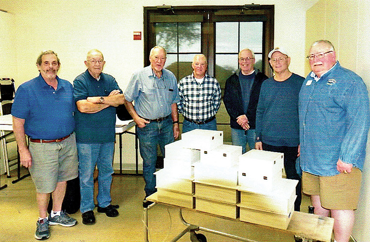 Robson Ranch woodworkers made over a dozen boxes. Larry Ditch (Instructor), Jack Rhead (Robin or right-hand person to Boyce), Boyce Irwin (our Batman and originator of memory boxes for Cook's Children's Hospital), Chuck Leach, Hank Gillespie, Keith Werner, and Charley Williams (left to right). Not shown: Mick Calverley and Caryn Galderisi