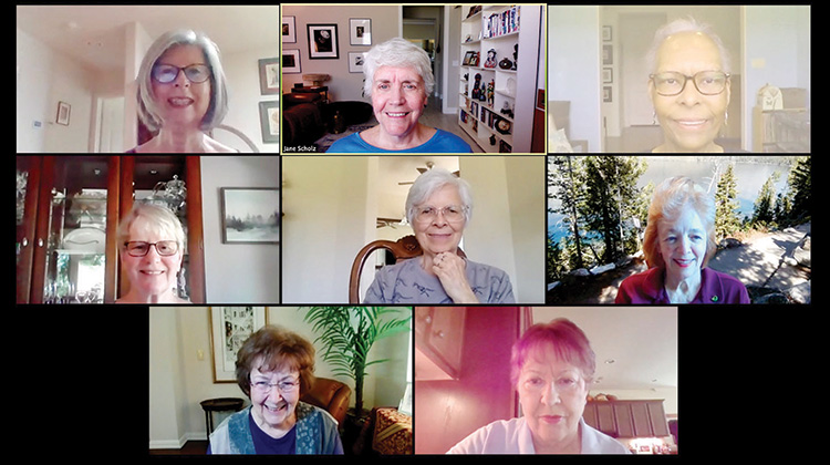 Members of the Thursday Voices United discussion group on Zoom: top row (from left to right): Karen McDaniels, Jane Scholz, and Janet Scott-Harris; second row: Jan Lands, Margo Ways, and Kim Robinson; third row: Joan Wall and Frances Rolater