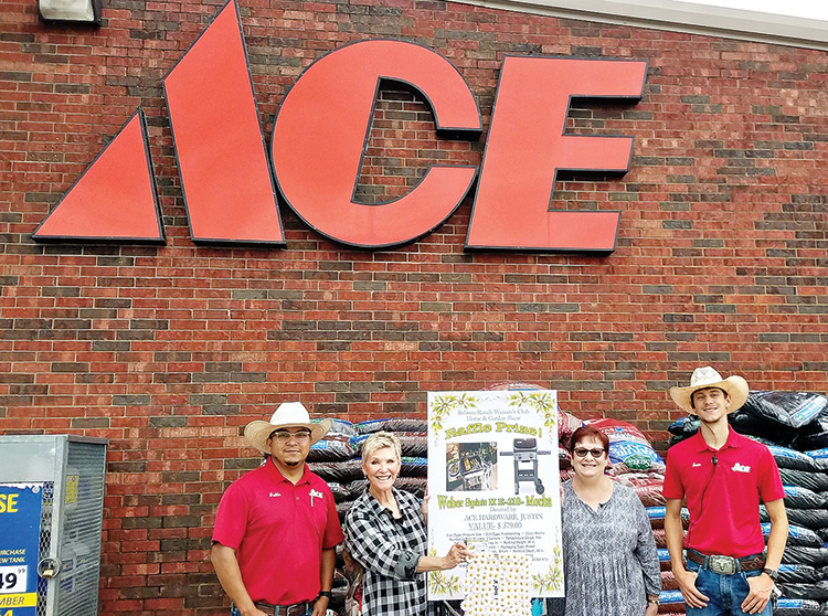 From left to right: Pablo Herrera (store manager), Nancy Garre (ways and means chair), Gayle Coe (president), and Samuel Smethers (assistant manager)