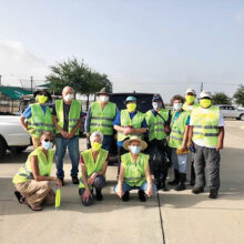 Volunteers for the June cleanup are shown. All are welcome to help keep Robson Ranch Road lookin' good.