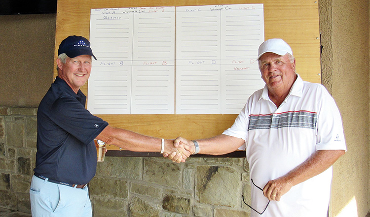 Lee Griswold and Jim Kohnert wish each other good fortune at the start of the Wildhorse Cup.