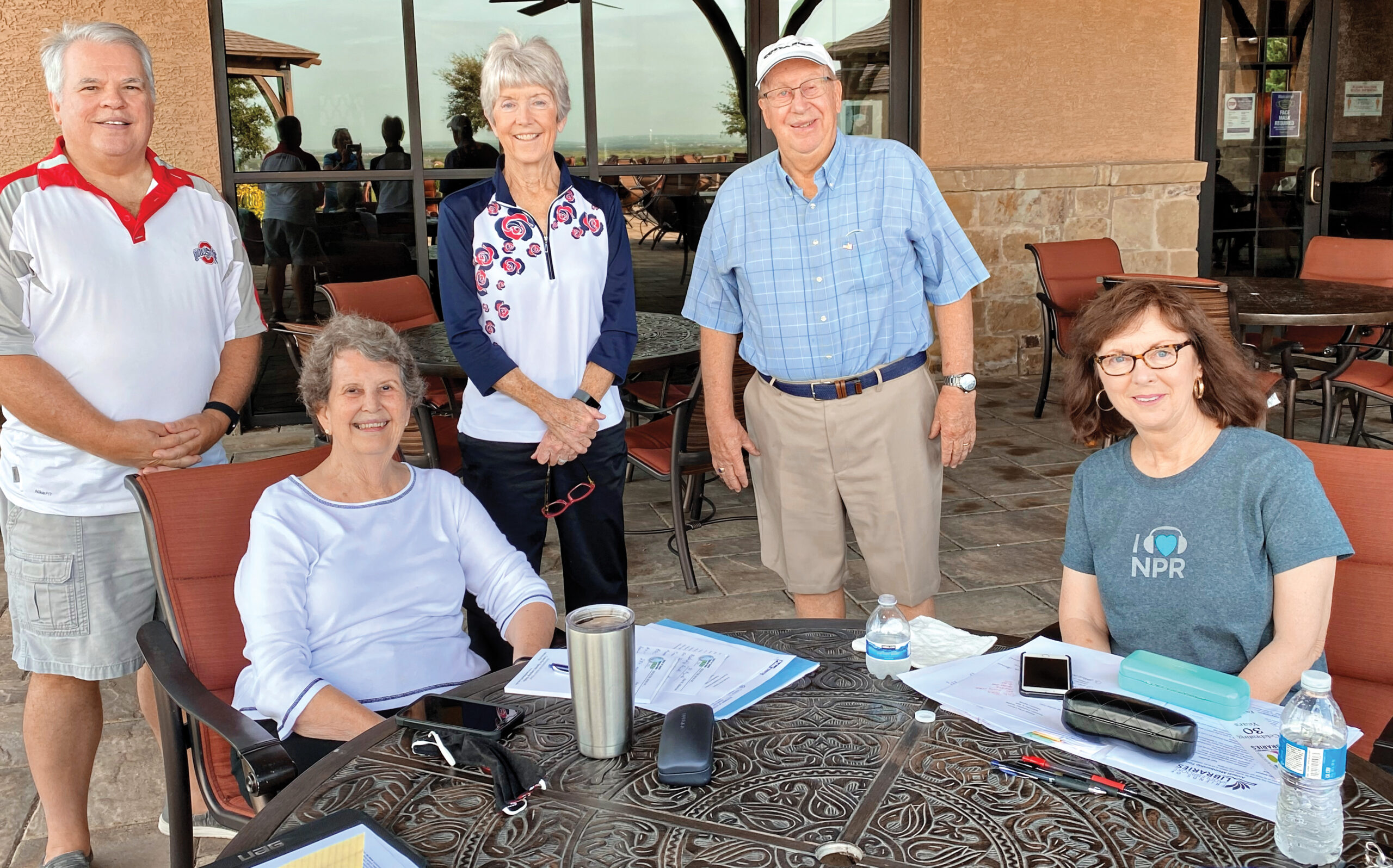 FOL Executive Committee members after a recent socially distanced meeting; Standing (left to right): Chair Alan Albarran, Vice Chair Marsha Scholze, Treasurer Jim Ryerson; Seated: Secretary Ann Madigan, Past Chair Linda Bono.