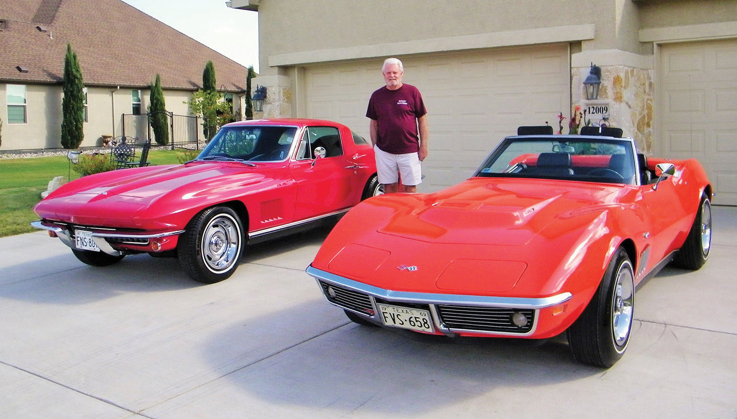 Terry Hitch with his classic corvettes
