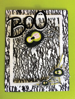 My card for my grandson. He likes all things spooky, so the eyes are a bit scarier looking than what Tami demonstrated.
