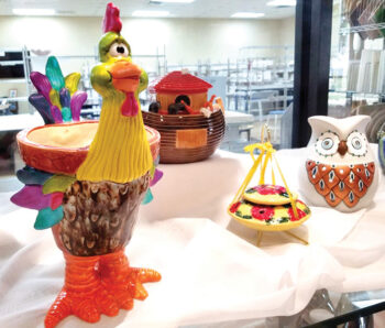 A few projects made by our members—The Flashy Rooster, the Adorable Arc by Lana Aberbach, the Enlightened Owl by Angela Waters, and the Hummingbird Feeder was a joint effort.