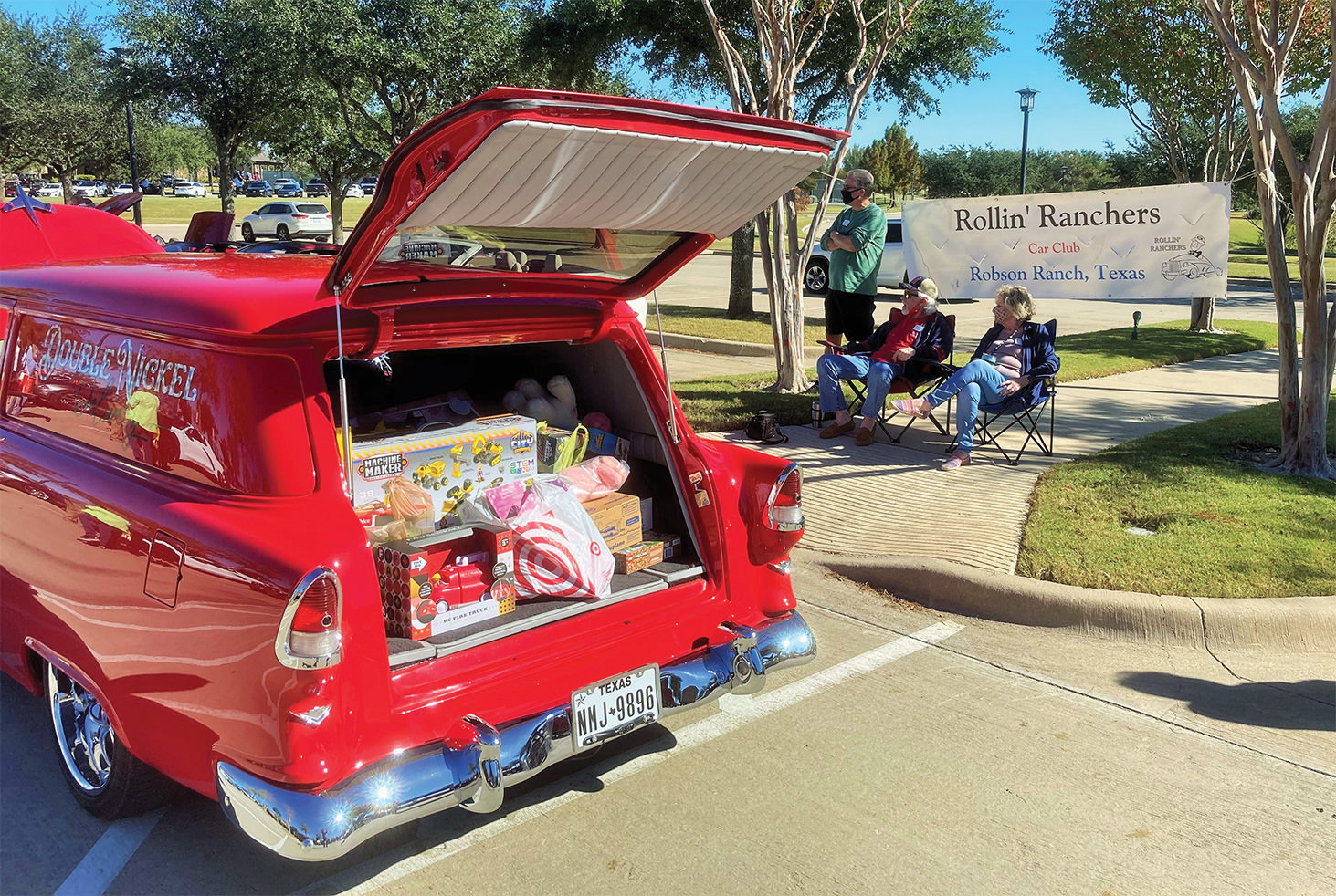 Chevy Street Rod filling up with toys