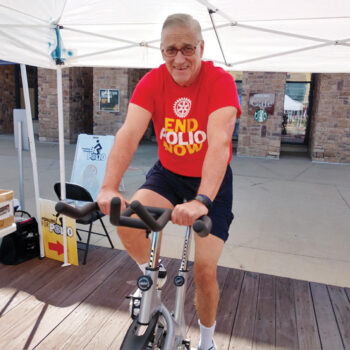 Robson Ranch resident and Rotarian Jack Kearney pedals towards his goal to eradicate polio.