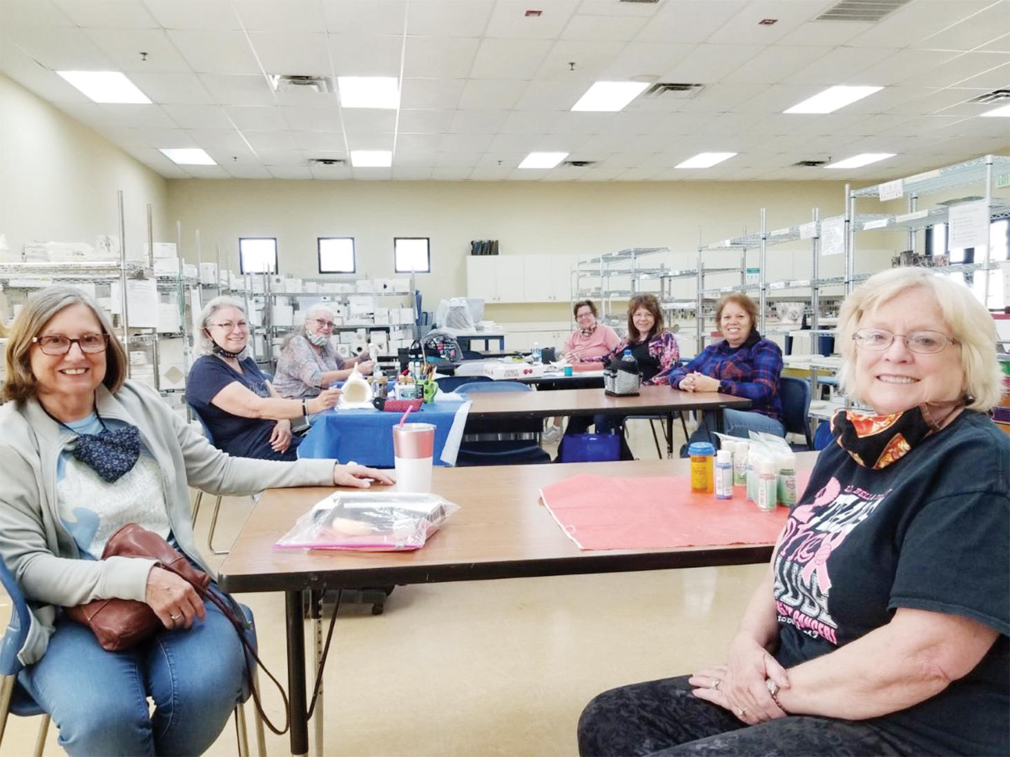 Three new members, Jill Stevens (front left), Linda Munz (front right) and Mary Ellen Steibel (back) with Cathy Hampton, Cindy Parker, Neva Kosmicki, and Maria Rudolph.