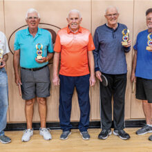 """Left to right: champion team of Jack Zastrow and Norris Drum, Dave Cooper, runner-up team of Jim Doyle and Jim """"Butch"""" Southard"""