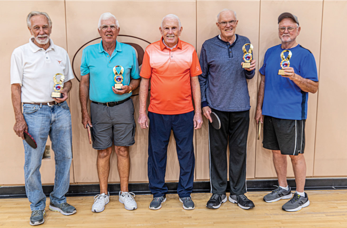 "Left to right: champion team of Jack Zastrow and Norris Drum, Dave Cooper, runner-up team of Jim Doyle and Jim ""Butch"" Southard"