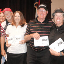 First place winners 1st Flight: Doyle and Gale Hicks, Guy and Diane Bent