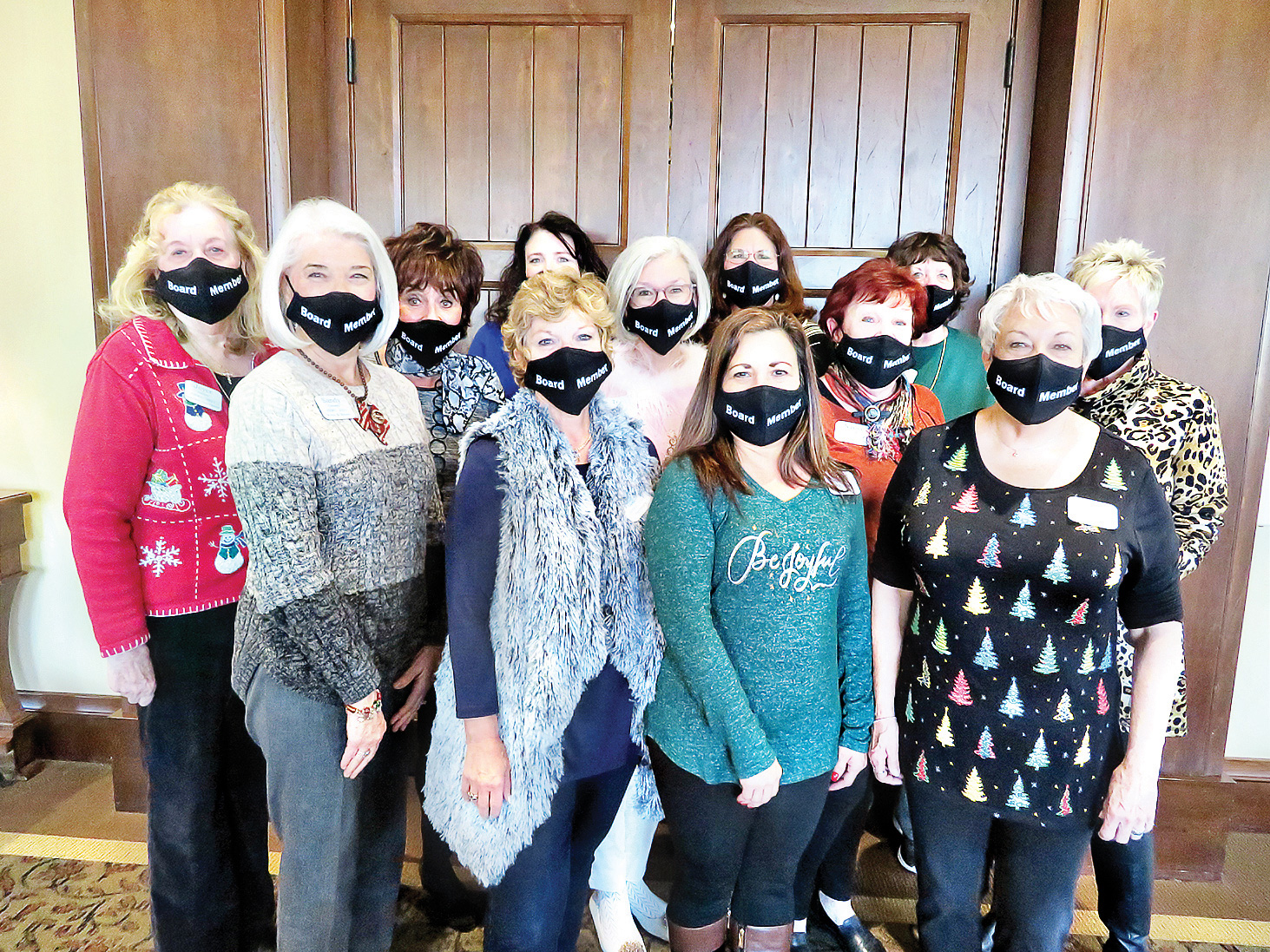 Women's Club Board for 2021 bottom row (left to right): Sandy Conwell, Donna Gardner, Sally Monge, and Darla Mahan; middle row: Joyce Ambre, Deanna Sico, Terri Bush, Nanci Odom, and Lucille Zimmerman; top row: Lisa Olson, Pam Dotson, and Barb Cummins