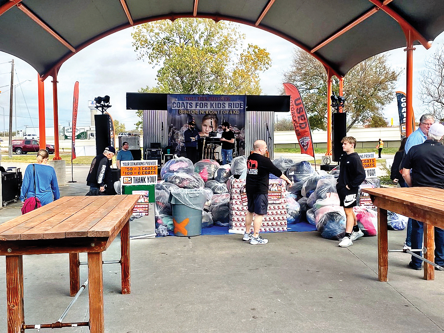 Gathering coats at the event