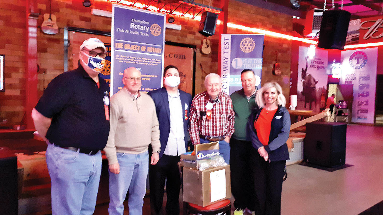 Left to right: Roger Shady; Don Fryer, first member to contribute to program; Justin Lansdowne, club president; Gary Toothaker, program sponsor; Dave Everly, program coordinator; and Jacee Kiefer, program support