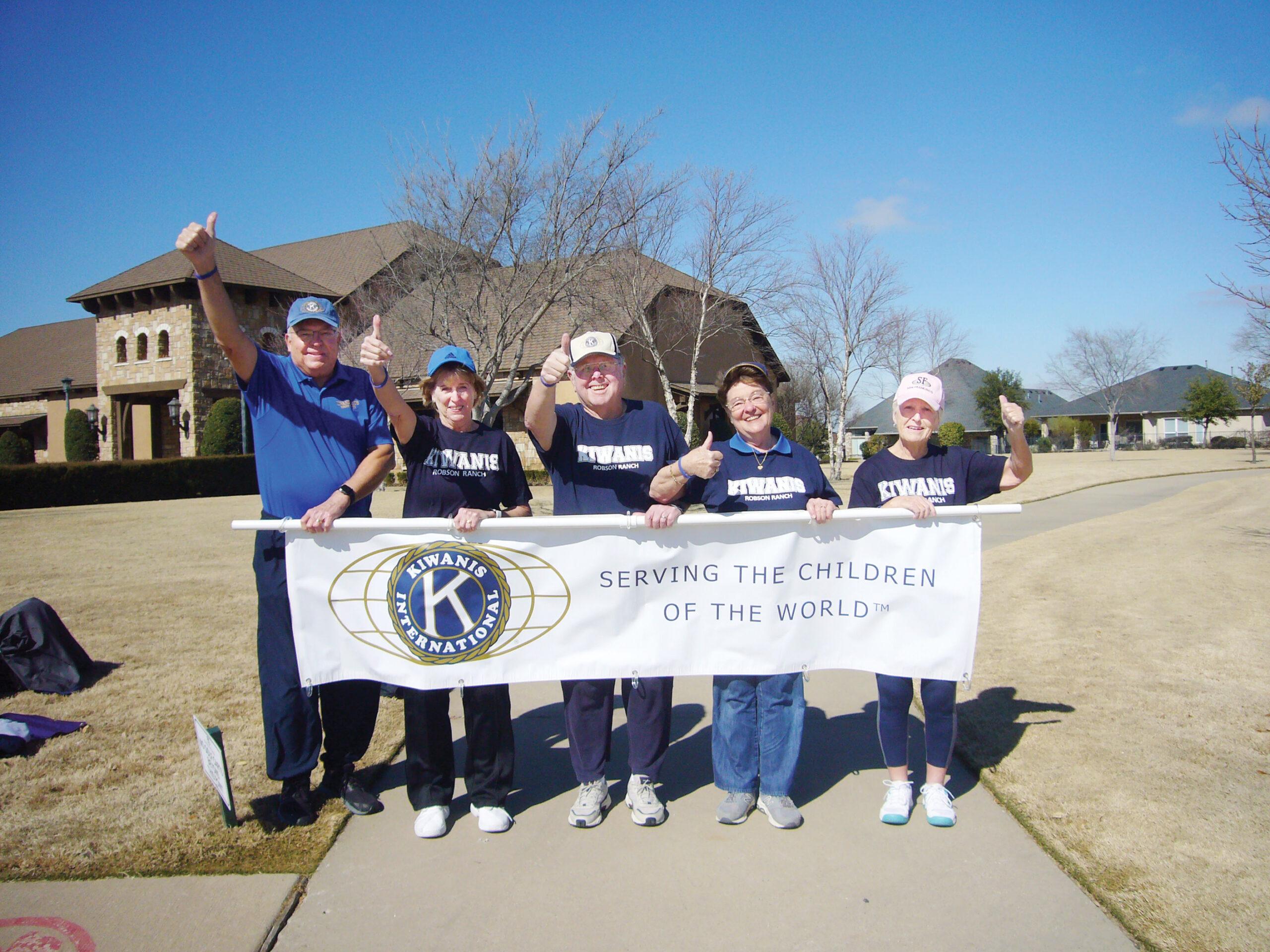 Roy Meyer, Chris Mershon, Jim and Susan Galbraith, along with Pat Hamblin, are ready to walk the two miles Kiwanis CAP Walkathon on April 10, 2021.