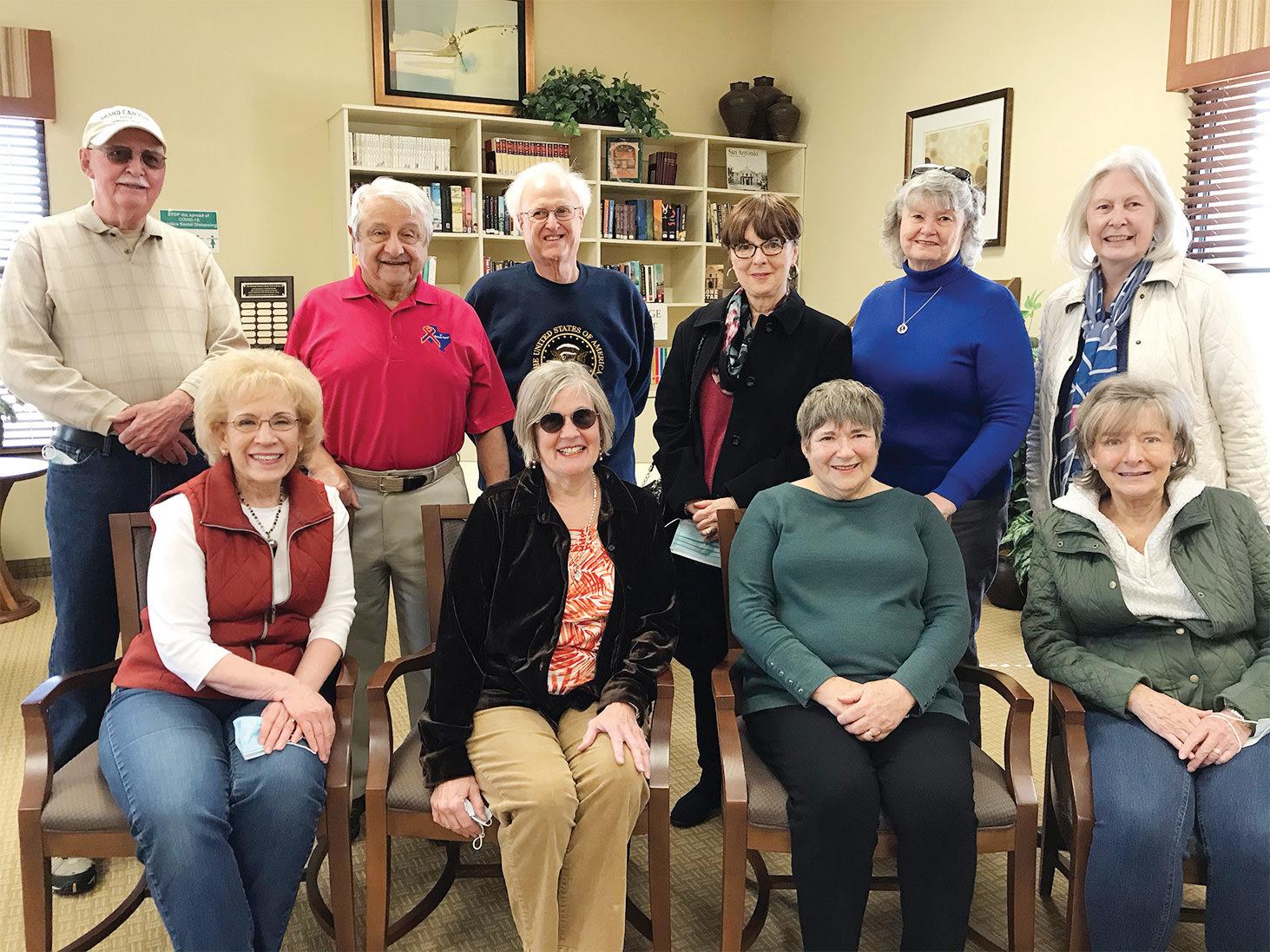 Seated (left to right): Nancy Tarpley, Marcia Elving, Diane van Naerssen, and Sally Ryerson; Standing: Gil Clifton, Fred van Naerssen, Jerry Tarpley, Linda Bono, Doris Koenig, and Joan Pursley.
