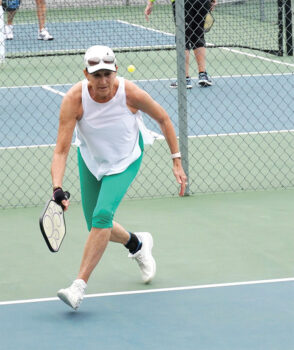 Connie Cline participating in Pickleball Club's recent Shootout event held March 13. Looking good, Connie!