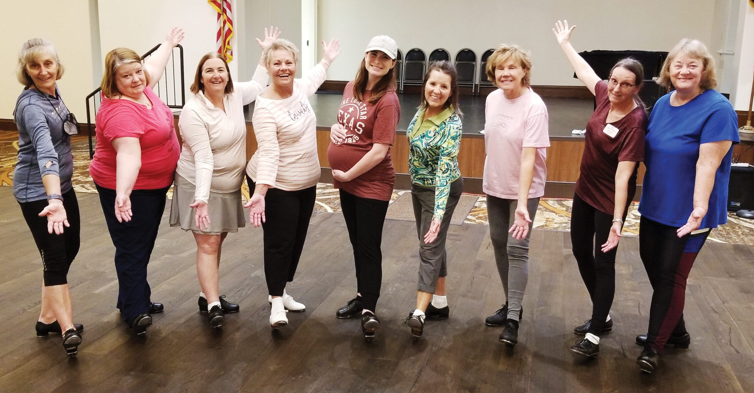 Instructor Kimberly, in the middle, with a few of her Silver Steppers